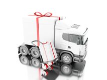 3d Truck delivering a gift box with hand truck Royalty Free Stock Images