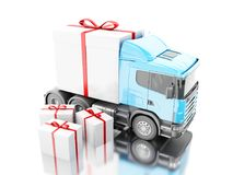 3d Truck delivering a gift box with ribbon. 3d illustration. Truck delivering a gift box with ribbon. Presents delivery service concept. Isolated white Royalty Free Stock Image
