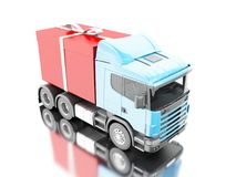 3d Truck delivering a gift box with ribbon. 3d illustration. Truck delivering a gift box with ribbon. Presents delivery service concept. Isolated white Royalty Free Stock Photos