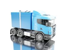 3d Truck delivering a gift box with ribbon. 3d illustration. Truck delivering a gift box with ribbon. Presents delivery service concept.  white background Royalty Free Stock Images