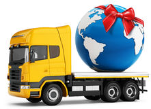 3d truck with earth globe delivery and red bow Royalty Free Stock Image