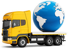 3d truck with earth globe delivery stock illustration