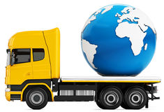 3d truck with earth globe delivery royalty free illustration
