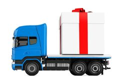 3d truck gift box delivery Royalty Free Stock Photos