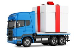 3d truck gift box delivery Royalty Free Stock Photography