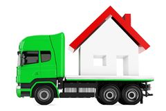 3d truck with house delivery Royalty Free Stock Photo