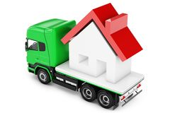 3d truck with house delivery vector illustration