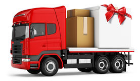3d truck with packages delivery stock illustration