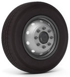 3d truck wheel and tire. On white background 3D illustration Royalty Free Stock Photo