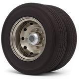 3d truck wheel and tire. On white background 3D illustration Stock Image