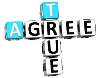 3D True Agree Crossword Stock Images