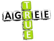 3D True Agree Crossword Stock Image