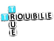 3D True Trouble Crossword Stock Photo
