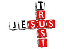 3D Trust Jesus Crossword. On white background Royalty Free Stock Images