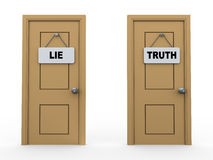 3d truth lie door. 3d illustration of two doors with lie and truth sign board Stock Photography