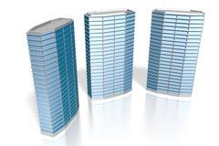 3D trzy budynki biurowi Zdjęcia Royalty Free