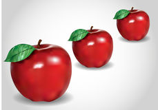3d trzy czerwieni jabłko Royalty Ilustracja