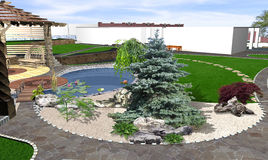 3d tuinvijver en de decking ideeën, geven terug Royalty-vrije Stock Foto