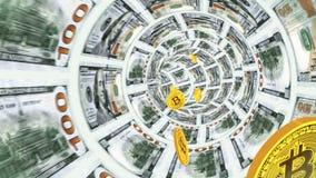 3D tunel dolary i latań tylni bitcoins royalty ilustracja
