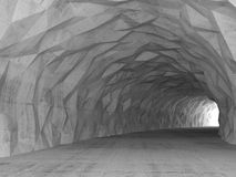 3d tunnel interior with chaotic polygonal relief Stock Photos