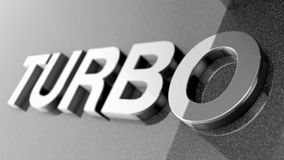 3d turbo render. 3d render of the word turbo on a gray textured background Stock Image