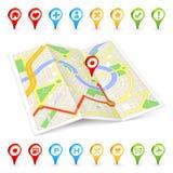 3D turist Citymap med viktiga ställemarkörer Arkivfoton