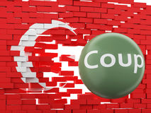 3d Turkey flag. Military Coup Attempt concept Royalty Free Stock Photography