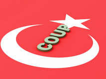 3d Turkey flag. Military Coup Attempt concept Royalty Free Stock Photos