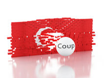 3d Turkey flag. Military Coup Attempt concept Stock Photos