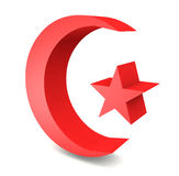 3D turkish flag moon star Royalty Free Stock Images