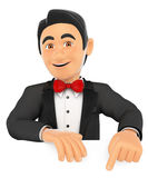 3D Tuxedo man pointing down. Blank space. 3d bow tie people. Tuxedo man pointing down. Blank space. White background Stock Images
