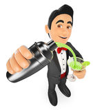 3D Tuxedo man preparing a cocktail in a shaker. 3d bow tie people. Tuxedo man preparing a cocktail in a shaker. White background Royalty Free Stock Images