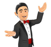 3D Tuxedo man presenting something with their hands up. 3d bow tie people. Tuxedo man presenting something with their hands up. White background Royalty Free Stock Image