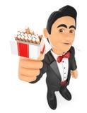 3D Tuxedo man smoking and offering a cigarette Stock Photos