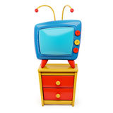 3d Tv cartoon on a dresser   on white background Royalty Free Stock Image