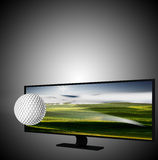 3D TV with golf ball on the display. For adv or others purpose use Stock Photos