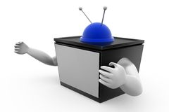 3d tv with hand concept Stock Photography