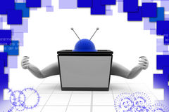 3d tv with hand illustration Royalty Free Stock Images