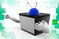 3d tv with hand illustration Stock Image