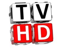 3D TV HD Crossword. On white background Royalty Free Stock Photography