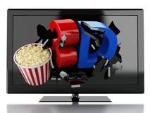 3D TV i popkorn prowadzący Kinowy pojęcie Obraz Stock