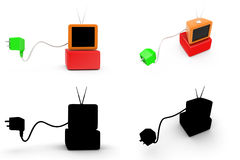 3d tv plug concept  collections with alpha and shadow channel Stock Photos