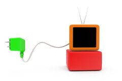 3d tv plug concept Stock Photography