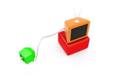 3d tv plug concept Stock Image