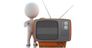 3d TV retra con la pantalla verde 4K ilustración del vector