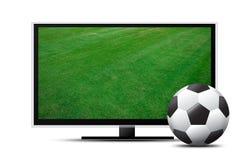 3d TV-scherm met voetbalgebied en bal Royalty-vrije Stock Foto's