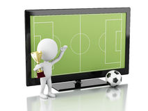 3d Tv screen with soccer field and ball. Royalty Free Stock Photos