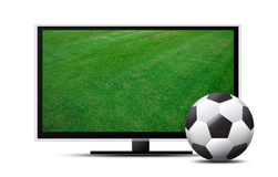 3d Tv screen with soccer field and ball Royalty Free Stock Photos
