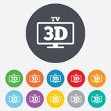 3D TV sign icon. 3D Television set symbol. New technology. Round colourful 11 buttons royalty free illustration
