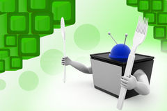 3d tv with spoon illustration Stock Photography